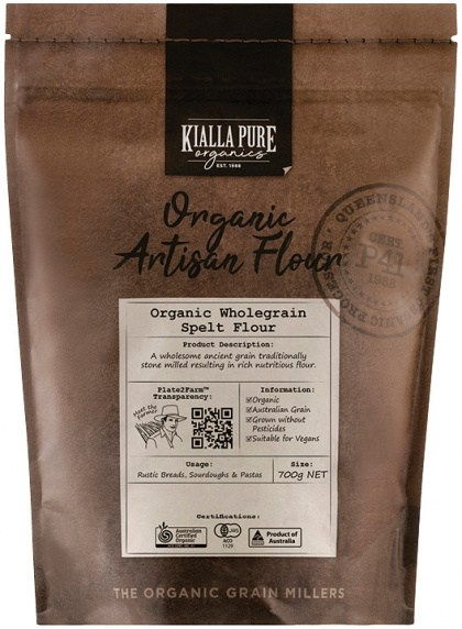 Kialla Pure Organics Organic Wholegrain Spelt Flour 700g