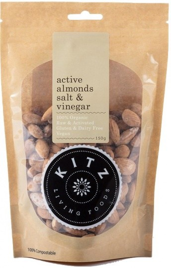 Kitz Living Foods Organic Active Almonds Salt & Vinegar  150g