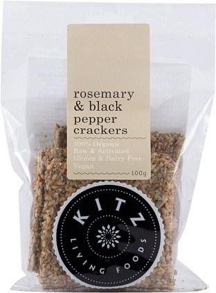 Kitz Living Foods Organic Rosemary & Black Pepper Crackers  100g