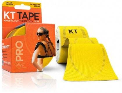 "KT Tape Pro 20 Precut 10"" Strips Solar Yellow"