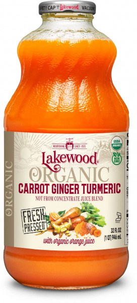Lakewood Organic Carrot Ginger Turmeric Juice  946ml