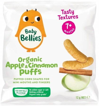 Little Bellies Organic Baby Puffs Finger Food Baked Apple Cinnamon  (9+ months)12g