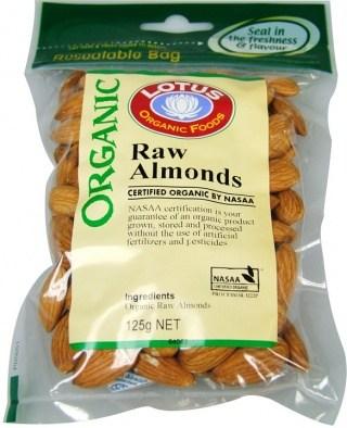 Lotus Organic Raw Almonds 125g