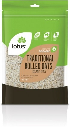 Lotus Organic Traditional Rolled Oats Creamy Style 1kg