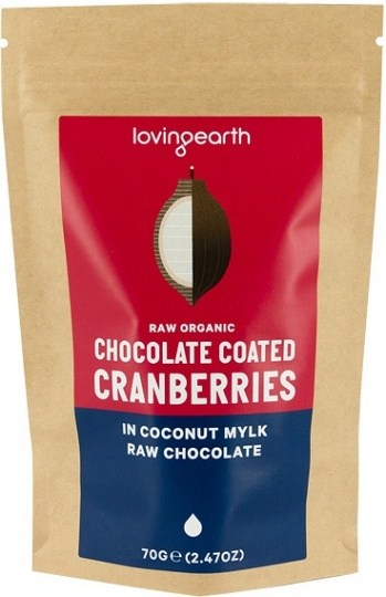 Loving Earth Chocolate Coated Cranberries In Coconut Mylk Chocolate 70g