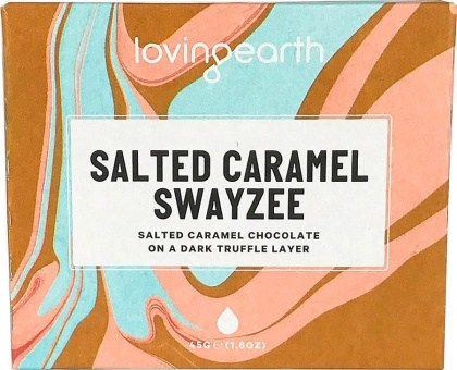 Loving Earth Organic Salted Caramel Swayzee Chocolate Bar  11x45g
