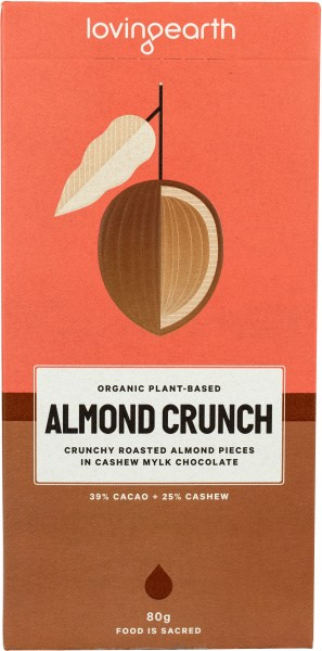 Loving Earth Raw Almond Crunch Chocolate  80g