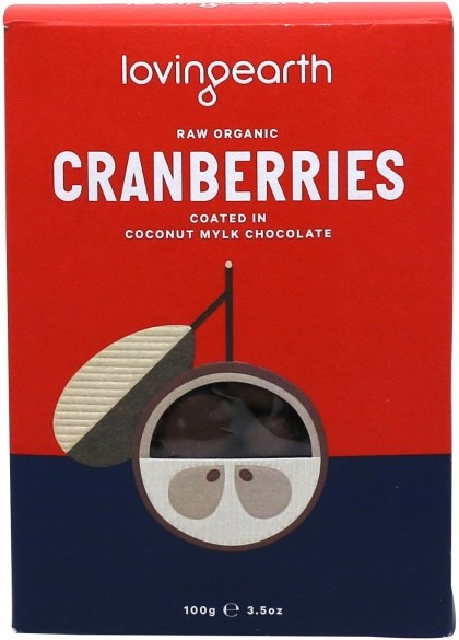 Loving Earth Raw Organic Cranberries Coated In Coconut Mylk Chocolate  100g