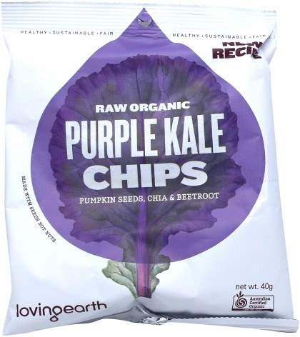 Loving Earth Raw Organic Purple Kale Chips 8x40g