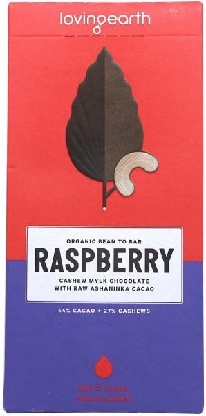 Loving Earth Raw Organic Raspberry Cashew Mylk Chocolate 80g