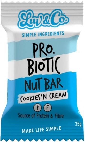 Luv & Co Probiotic Nut Bar Cookies 'n Cream 35g