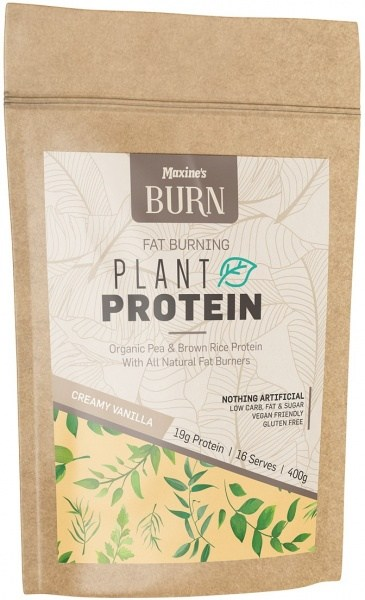 Maxine's Burn Plant Protein Creamy Natural Vanilla 400g Bag