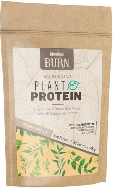 Maxine's Burn Plant Protein Creamy Natural Vanilla 908g Bag FEB21