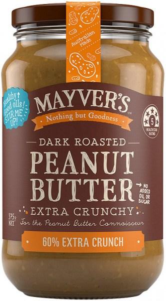 Mayvers Dark Roasted Extra Crunchy Peanut Butter  375g