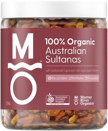 Murray River Organics Australian Sultanas  325g Jar MAY22