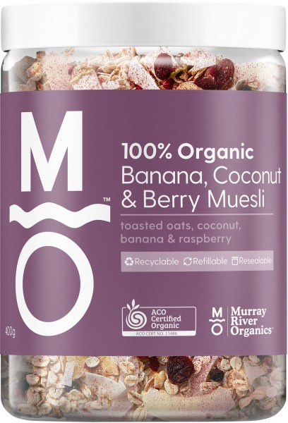 Murray River Organics Organic Berry Banana Muesli 400g Jar AUG22