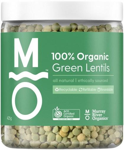 Murray River Organics Organic Green Lentils  425g Jar