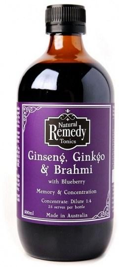 Natural Remedy Tonics Ginseng, Ginkgo & Brahmi with Blueberry  500ml