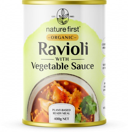 Nature First Organic Ravioli with Vegetable Sauce Plant Based Ready Meal Can 400g