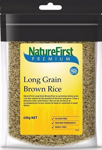 Nature First Rice Brown Long Grain 450g