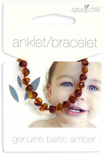 Natures Child Amber Anklet/Bracelet for Baby Cognac
