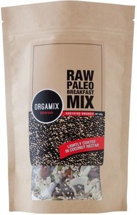 Orgamix Organic Raw Paleo Breakfast Mix Lightly Coated in Coconut Nectar  400g