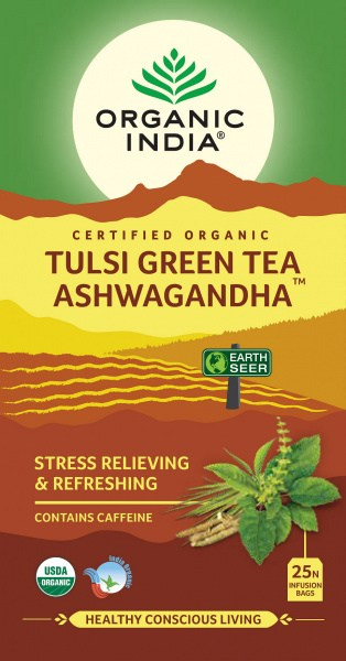 Organic India Tulsi Green Tea Ashwagandha  25Teabags