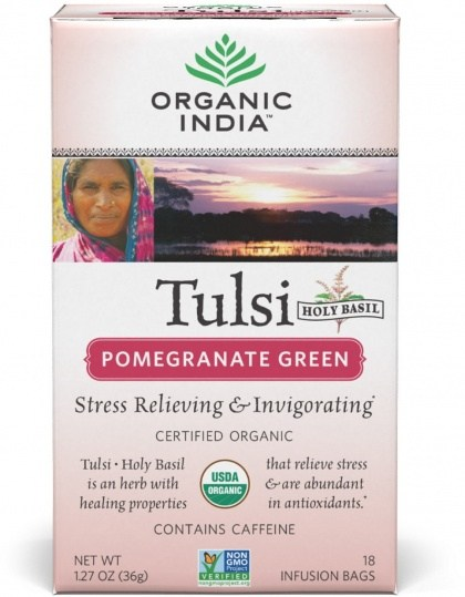 Organic India Tulsi Pomegranate Green Tea 18Teabags
