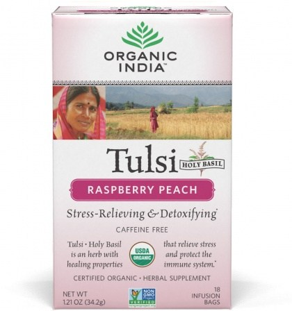 Organic India Tulsi Raspberry Peach Tea 18Teabags