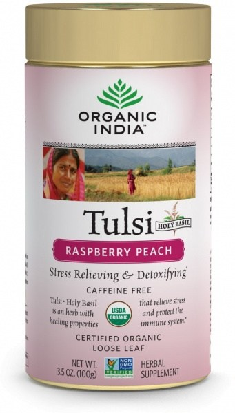 Organic India Tulsi Raspberry Peach Tea Tin 100g