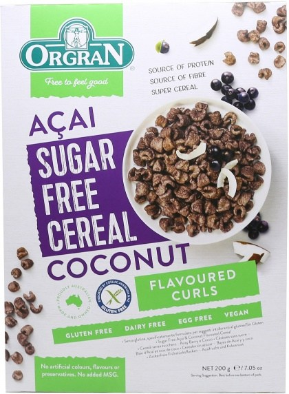 Orgran Acai & Coconut Sugar Free Cereal Curls 200g