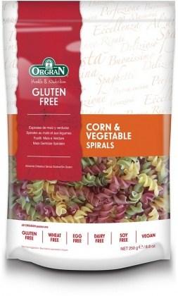 Orgran Corn & Vegetable Spirals Pasta 250gm
