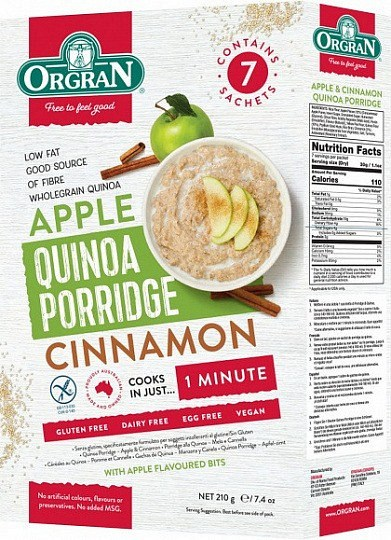 Orgran Quinoa Porridge Apple & Cinnamon 210g
