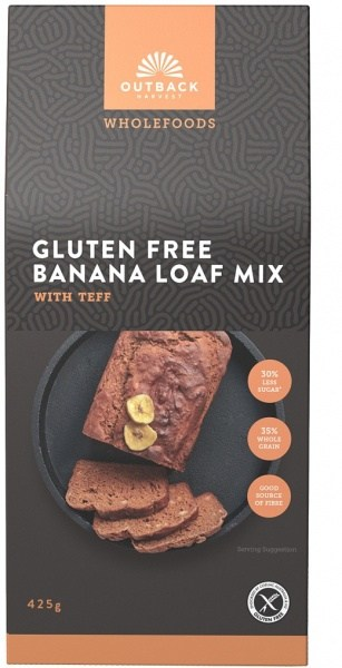 Outback Harvest Wholefoods Gluten Free Banana Loaf Mix w/Teff 425g