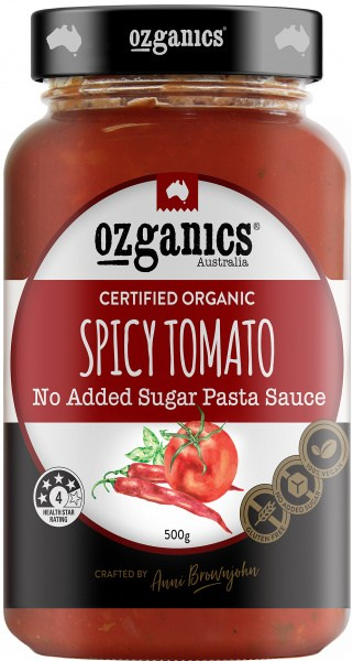 Ozganics Organic Spicy Tomato NAS Pasta Sauce 500g