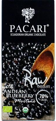 Pacari Biodynamic Raw  Cacao Bar w Andean Blueberry 50g