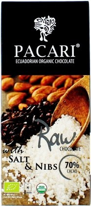 Pacari Biodynamic Raw Cacao Bars w Salt Nibs 50g