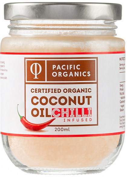Pacific Organics Chilli Infused Coconut Oil  200ml Glass Jar NOV21