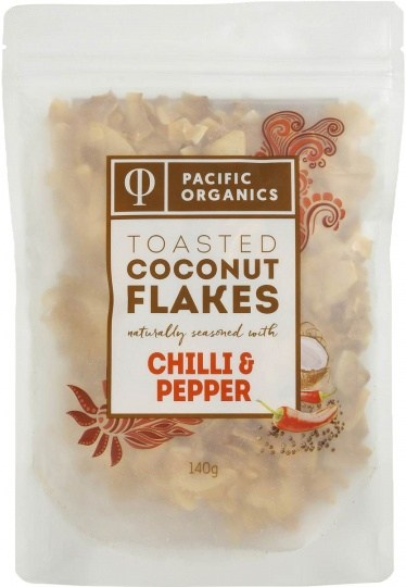 Pacific Organics Coconut Flakes Toasted Chilli Black Pepper 140g