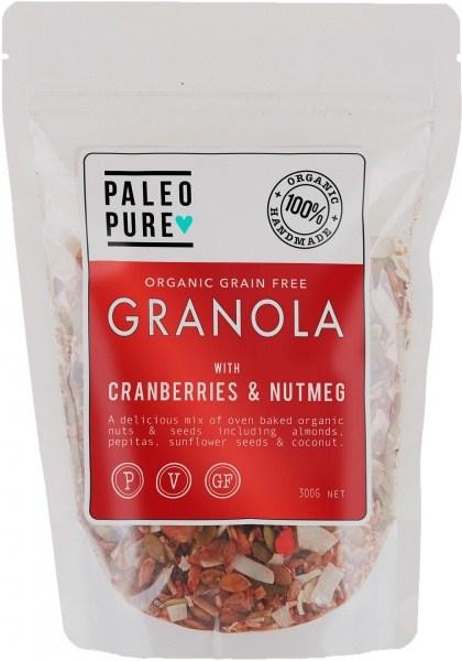 Paleo Pure Ogranic Grain Free Granola Cranberry Nutmeg  300g