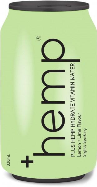 Plus Hemp Hydrate Vitamin Water Lemon + Lime Flavour 12x330ml Cans