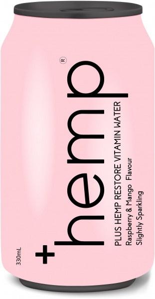 Plus Hemp Restore Vitamin Water Raspberry & Mango Flavour 12x330ml Cans