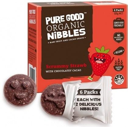 Pure Good Organic Nibbles Scrummy Strawberry w/ Chocolatey Cacao  120g