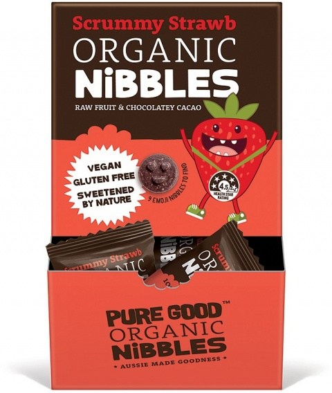 Pure Good Organic Nibbles Scrummy Strawberry w/ Chocolatey Cacao  50x10g