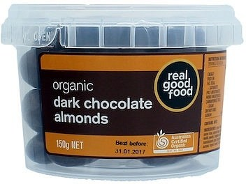 Real Good Food Almonds Choc Coated Dark Organic Tub  150g