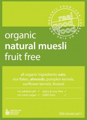 Real Good Foods Organic Fruit Free Muesli Bag 500g