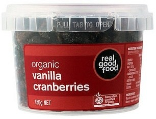 Real Good Foods Organic Vanilla Cranberries Dried 150g