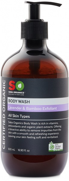 Saba Organics Body Wash Lavender & Bamboo Exfoliant 500ml
