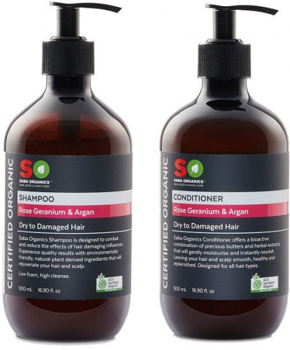 Saba Organics (BOGOF) Hair Pack - Geranium/Argan Shampoo + Conditioner