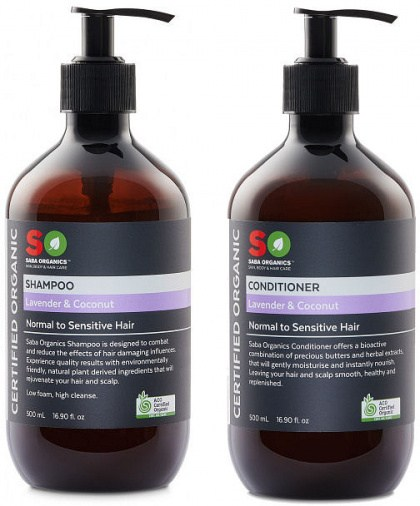 Saba Organics (BOGOF) Hair Pack - Lav/Coconut Shampoo + Conditioner